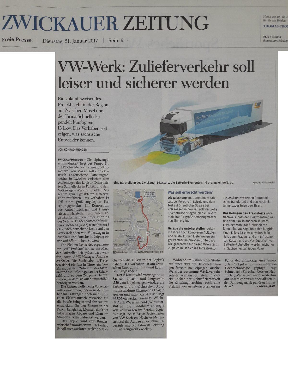 """Presse: """"VW-Werk: Zulieferverkehr soll leiser und sicherer werden"""" in der Freien Presse im Januar 2017"""